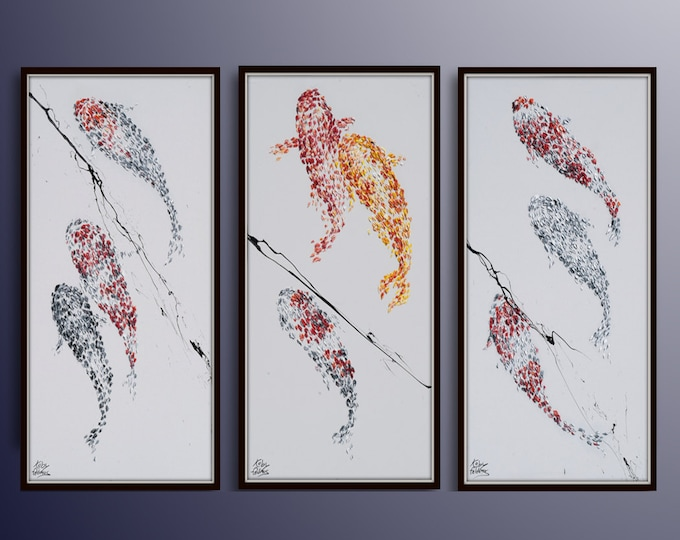 """AMAZING SET !! 48"""" x 24"""" Impressive Koi fish painting set. Special composition, relaxing color By Koby Feldmos"""