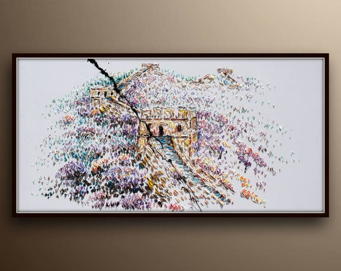 """67"""" Great wall of China (in the Spring) - Beautiful original handmade oil painting, Amazing looks, vital living colors , by Koby Feldmos"""