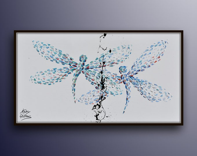 """Dragonflies 55"""" Beautiful painting of two dragonflies together, relaxing colors, thick oil layers, modern contemporary looks, Koby Feldmos"""