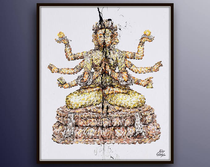 """Buddha 50"""" Buddhism religious Gautama, extremely beautiful amazing texture fine art painting Koby Feldmos"""