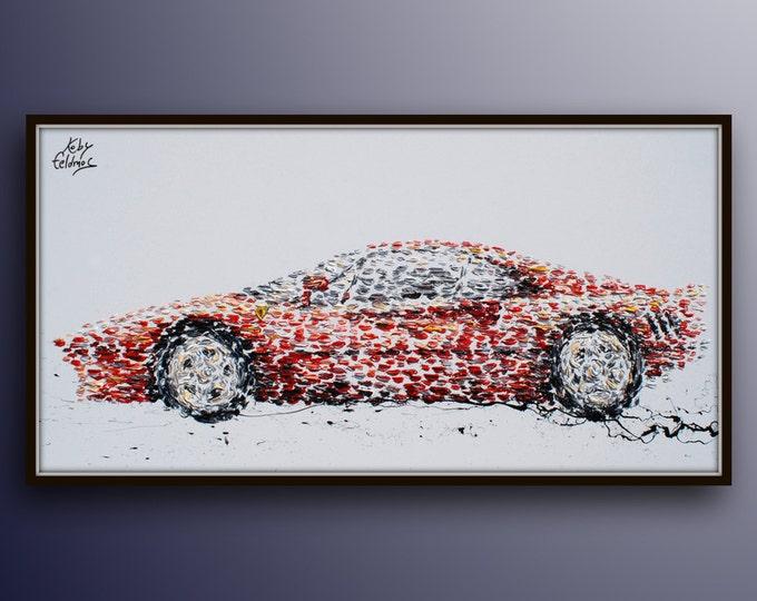 "Painting - 67"" Ferrari Sport car, Luxury oil painting on canvas, Custom order, By Koby Feldmos"