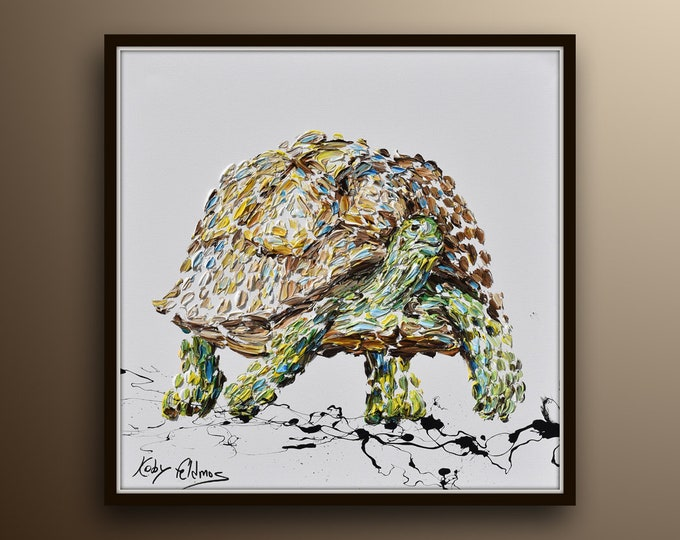 """Animal Painting 35"""" Turtle , Original handmade oil Painting on canvas , thick layers of paint, calming painting, By Koby Felldmos"""