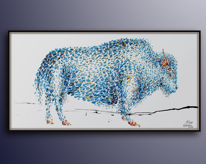 """Painting 67"""" BUFFALO Animal Oil Painting on Canvas, Abstract Art , Thick paint , Original Hand Made, Certificate Attached, By Koby Feldmos"""