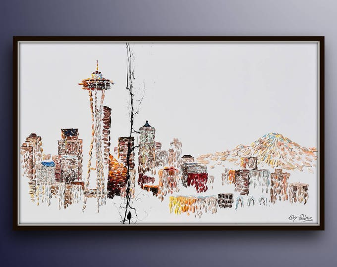 """Seattle Skyline 67"""" , beautiful Space needle, original oil painting on canvas, rich texture, large canvas, cool tones by Koby Feldmos"""