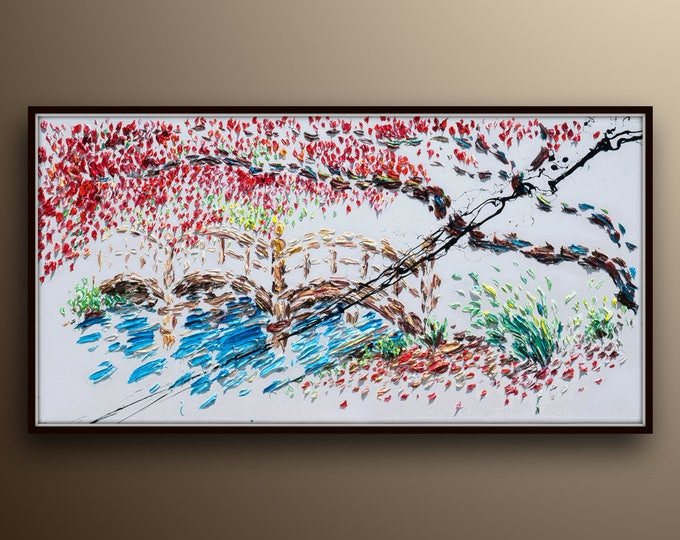"""Amazing Landscape painting 55"""" River bridge beautiful red tree , pastoral relaxing view, rich in texture,   By Koby Feldmos"""