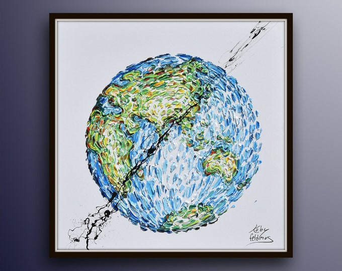 """Globe Painting 35"""" Amazing! Globus earth painting, continental painting, beautiful colors, thick layers, luxury looks by Koby Feldmos"""