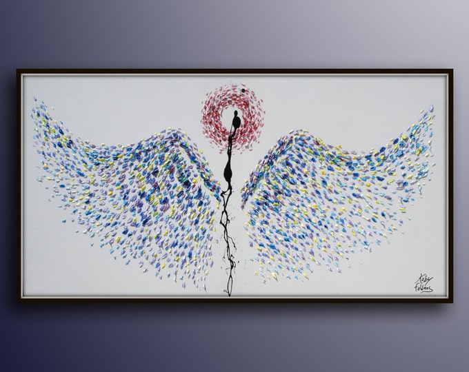"""Painting 55"""" Angel wings  Abstract style Thick layers Amazing texture ! Express Shipping By Koby Feldmos"""