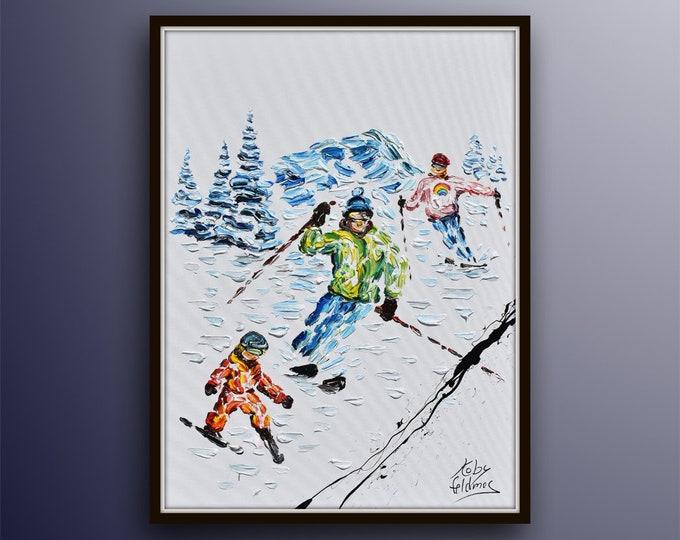 "Ski painting 40"" Sport art, Ski family on snow, skier on snowy mountain, custom order painting, snow, winter sport, by Koby Feldmos"