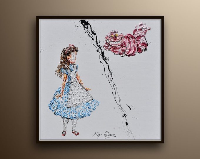 """Painting 35"""" Portrait painting, oil on canvas, Alice in wonderland, Cheshire cat, girl, cat, story, gift idea, handmade by Koby Feldmos"""