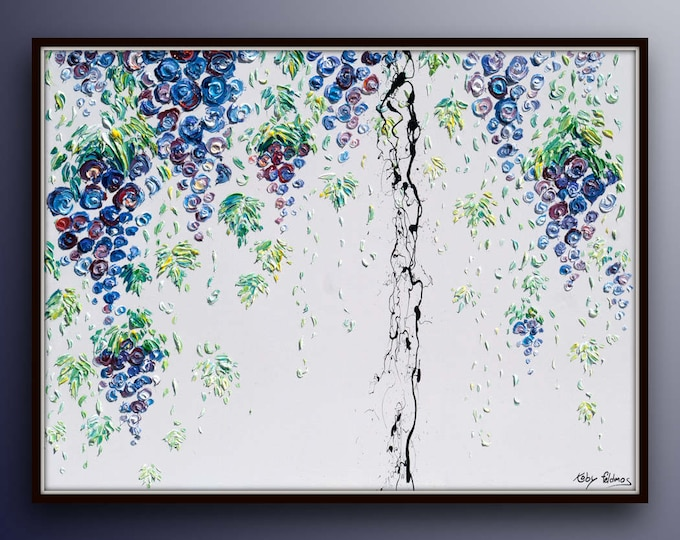 """Vineyard grapevine 40"""" original oil painting on canvas, purple green , Grapes thick layers, amazing texture. By Koby Feldmos"""