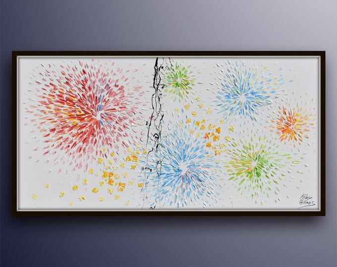 """Fireworks Painting 55"""" original oil painting on canvas, blue red green colors, optimistic painting, large artwork, By Koby Feldmos"""