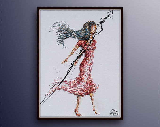 """Beautiful Woman 30"""" original oil painting, Beautiful texture, Unique composition, By Koby Feldmos"""