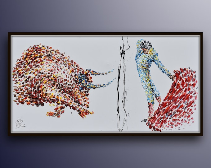 """Painting 55"""" , Matador fight , Extremely unique and beautiful oil painting on canvas, Thick luxury painting, Fine art,  By Koby Feldmos"""
