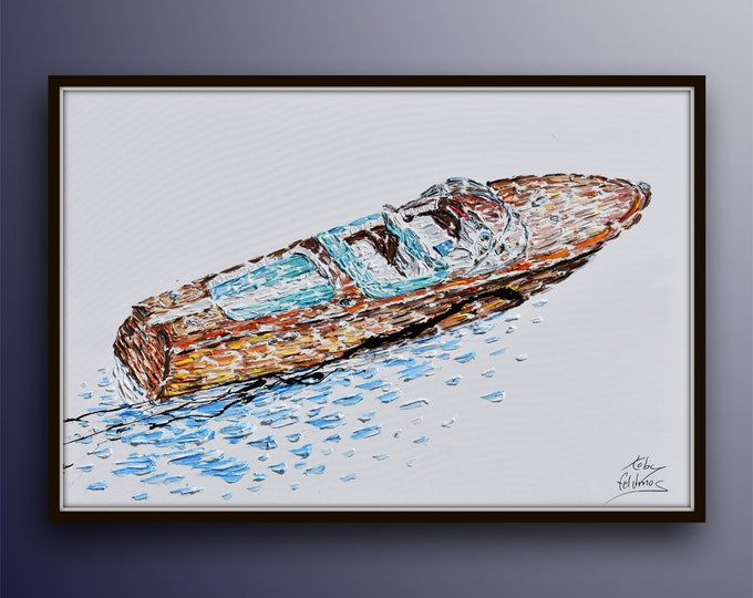 """Motorboat speedboat 60""""/40"""" - Luxurious art for home / office. Can be as gift. Thick texture, oil painting, boat, by Koby Feldmos"""
