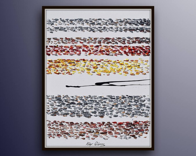 """Abstract Strips 40"""" oil Painting, one of a kind, Beautiful composition colors, Thick oil paint, Certification attached, By Koby Feldmos"""