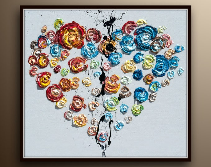 """LOVE Heart PAINTING 25"""" Amazing painting on canvas, For every occasion, Valentines, Gift idea, For yourself in Living room, Koby Feldmos"""