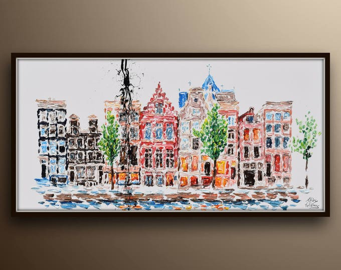 """55"""" Netherlands Amsterdam Buildings homes cityscape Skyline cityscape original oil painting on canvas, thick layers, By Koby Feldmos"""