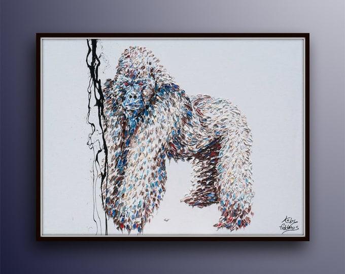 "Silverback Gorilla 40"" Animal painting,  original handmade modern art, texture painting, Modern Art oil on canvas by Koby Feldmos"