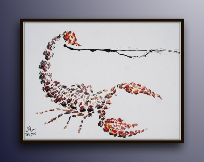 """Scorpion 40"""" original oil painting on canvas, animal, red black vivd strong colors like the sting, by Koby feldmos"""