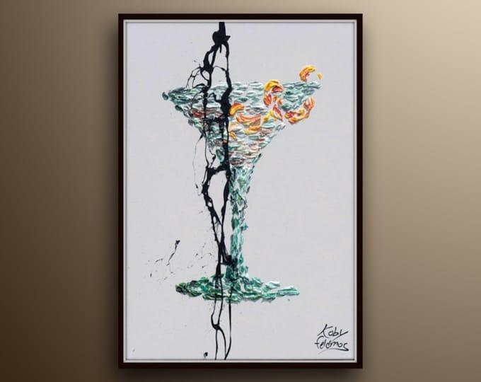 "Cocktail painting 40"" The Vesper James Bond Cocktail, Contemporary luxury art, handmade by Koby Feldmos"