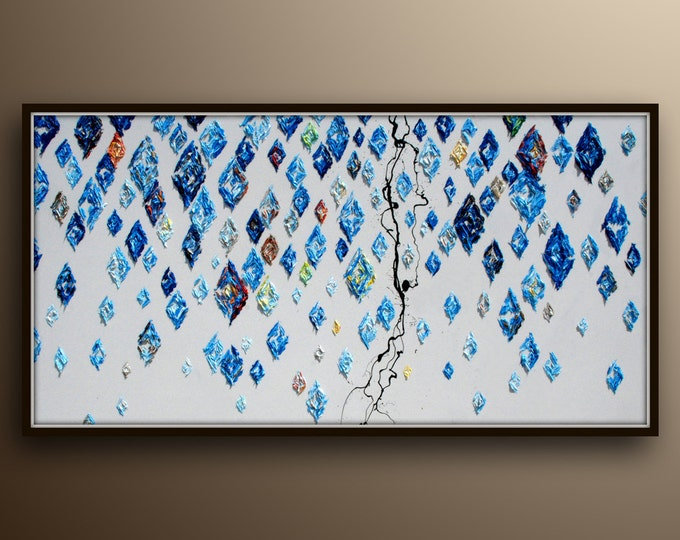 """Falling Diamonds 55"""" Texture painting, thick oil layers, calming cold blue colors with touch of hot tones, By Koby Feldmos"""