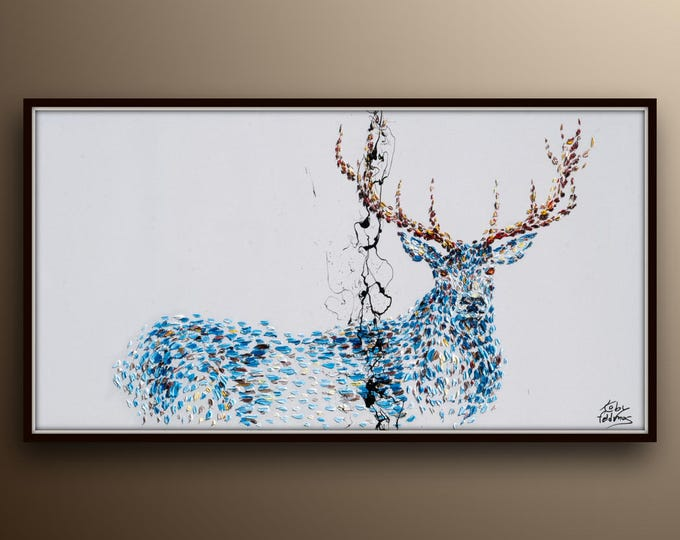 """Animal STAG deer 55"""" Beautiful relaxing Artwork,  Original handmade oil painting on canvas, thick oil layers, By Koby Feldmos"""
