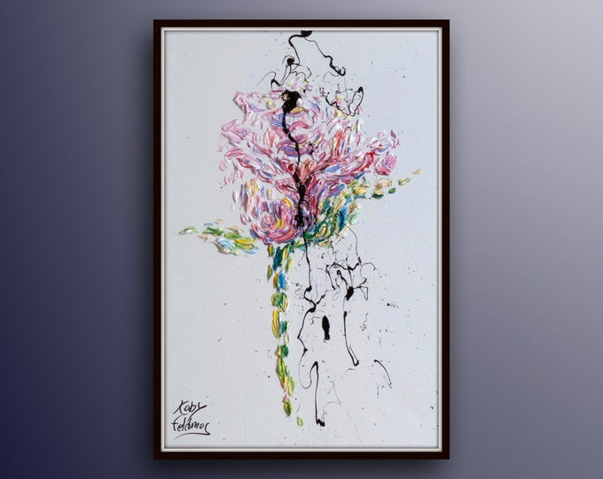 """Painting 30"""" Rose Flower, Modern style, luxury looks, thick layers, extremely unique by Koby Feldmos"""