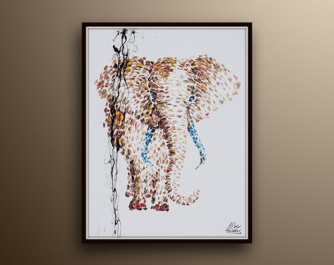 """African Elephant oil Painting 40"""" Beautiful brownish colors, Lots of texture, calming painting, By Koby Feldmos"""