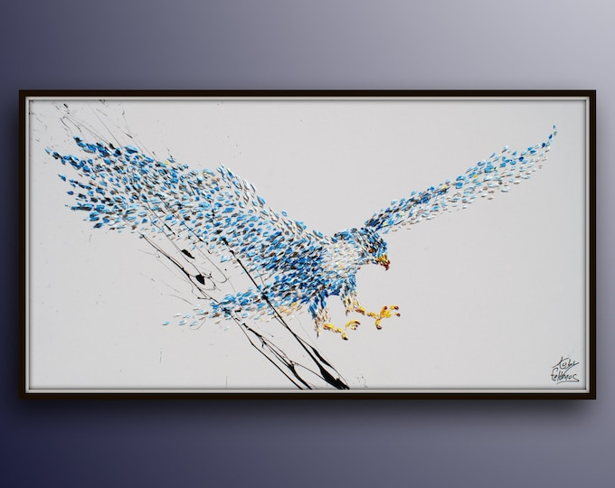 """Original oil painting 55"""" bird Falcon painting, Handmade oil paint on canvas, thick layers of paint, modern style, by Koby Feldmos"""