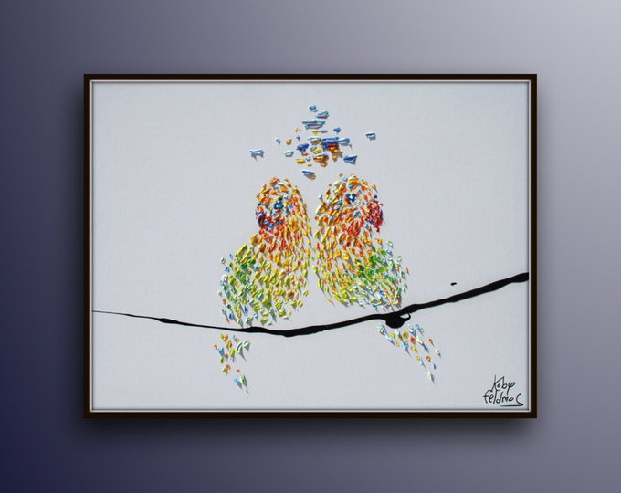 """Painting 40"""" Love Birds , Oil Painting on canvas , Beautiful painting for a couple, Express shipping , By Koby Feldmos"""
