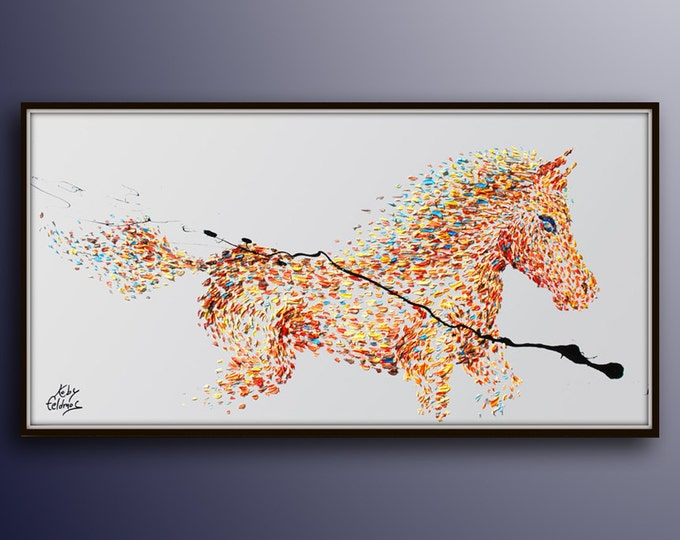 """Horse Painting 67"""" Animal painting, Beautiful warm colors, riding strong horse, thick oil original painting on canvas by Koby Feldmos"""