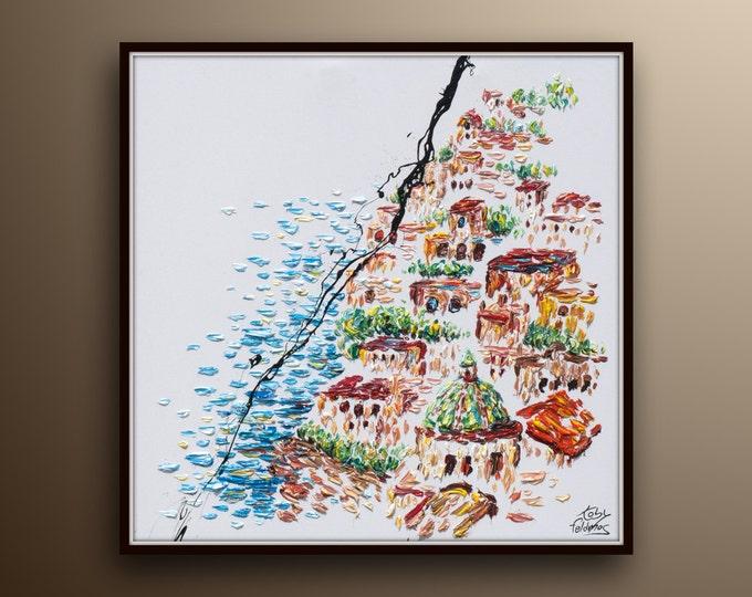 "Italy hillside of Positano - Italy 35"" houses river Italy view oil on canvas original handmade painting by Koby Feldmos"