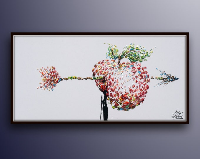"""Painting 55"""" Original oil painting on canvas beautiful apple with arrow thick layers modern art hand made by Koby Feldmos"""