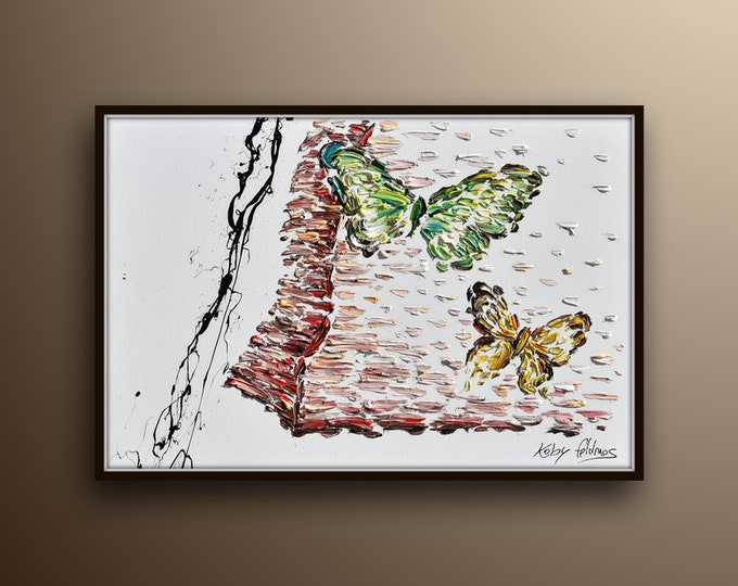 """Butterfly painting 40"""" Oil Painting of 2 Beautiful butterflies Pastel Oil Colors on canvas, Original Version, By Koby Feldmos"""