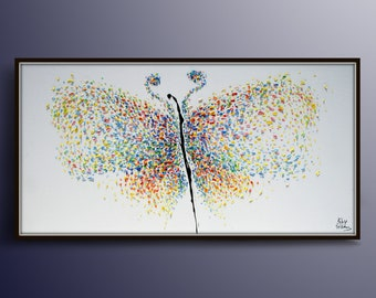 """Butterfly Painting 55"""" Original Handmade Oil Painting on canvas , Thick Luxurious Paint, By Koby Feldmos"""
