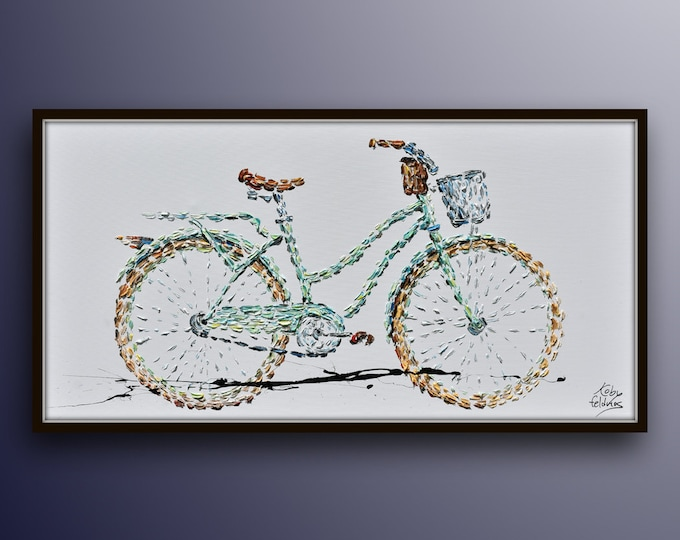 """Bicycle painting 55"""" classical vintage oil painting of beautiful pastel green bicycle, bicycle art by Koby Feldmos"""