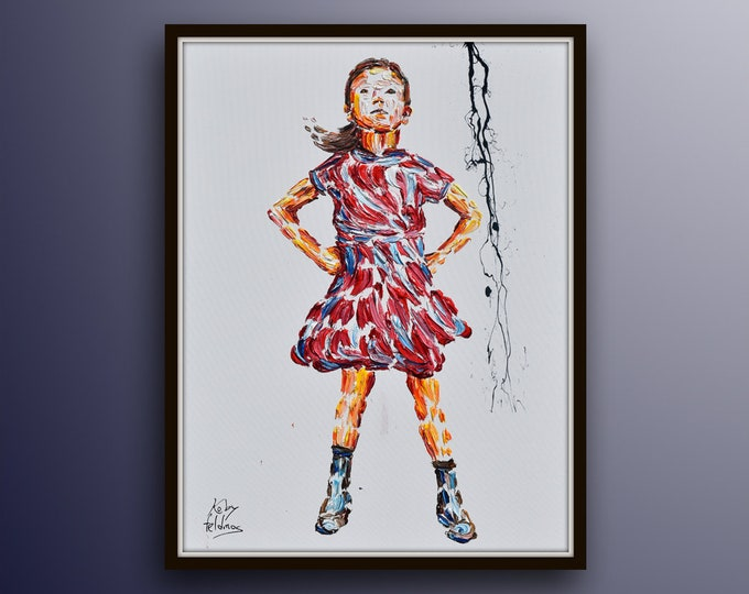 """Office painting 40"""" Fearless girl , oil painting on canvas Girl, Stock exchange market, business art, pink art for office, Koby Feldmos"""