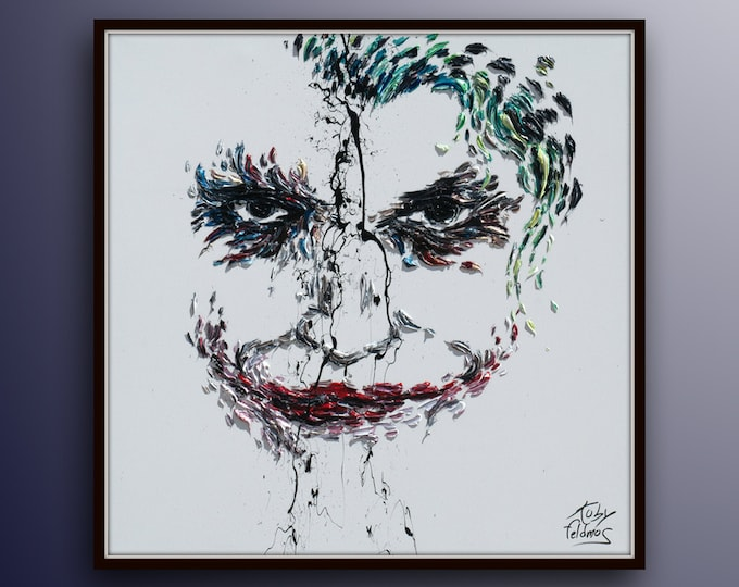 """Joker 35"""" Contemporary modern art, beautiful living colors, Extremely unique and impressive style, Painter famous Koby Feldmos"""