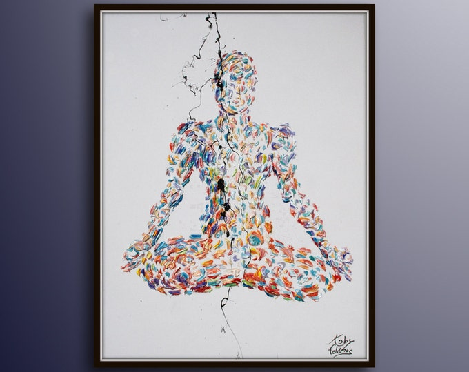 """Painting 40"""" Chakra Meditation, Yoga, Relaxing painting, lotus,  Original oil painting on canvas, Luxury thick layers, by Koby Feldmos"""