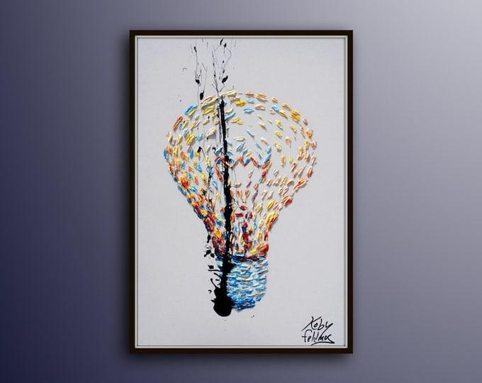 "Painting 40"" original oil painting canvas, Light bulb, innovative art, modern looks, cool fresh art, lots of texture, By Koby Feldmos"