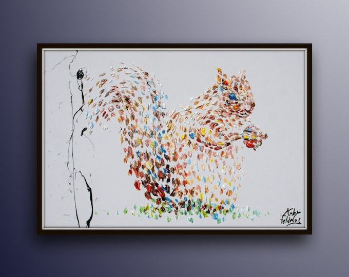 """Squirrel Animal Oil Painting 40"""",  Original oil painting on canvas, earth colors, beautiful for any room, thick texture, By koby Feldmos"""
