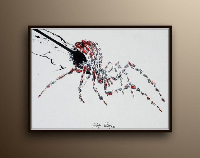 """Black Widow Spider 40"""" original handmade, fine art on canvas, thick layers, luxury look oil painting by Koby Feldmos"""