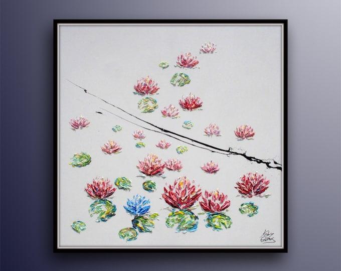 """Lotus Flower 35"""" - Beautiful impressive oil painting artwork of red lotus in water, handmade original painting, By Artist Koby Feldmos"""