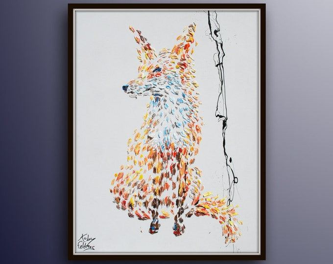 "Fox Painting 40"" animal painting on canvas, original handmade, new painting, beautiful colors,  Modern style,  Koby Feldmos"