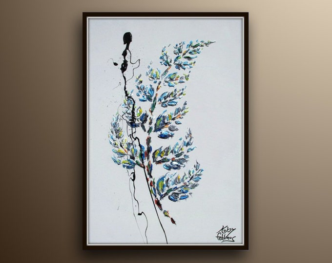 """Branch with leaves 30"""" , Beautiful relaxing oil painting on canvas, Calming pastel colors, by Koby Feldmos"""