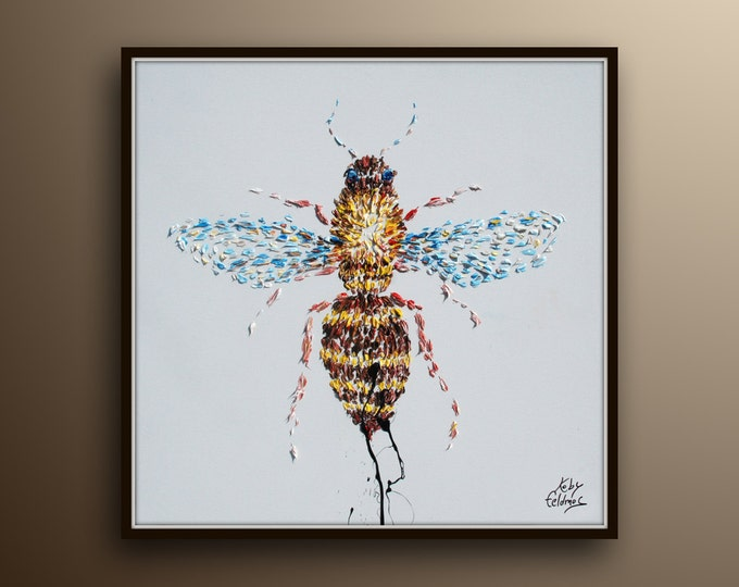 """Bee painting 25"""" , Animal painting, original oil painting on canvas, by Koby Feldmos"""