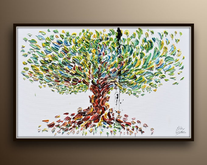 HUGE Olive Tree painting 60/40 inch - Beautiful & Colorful olive Tree , Original Oil Painting By Koby Feldmos , Certification Attached