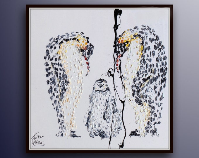 """Penguin Family 35"""" Beautiful Family painting of Mom and Dad, Neutral colors, thick layers, Modern impressive Oil on canvas, Feldmos"""