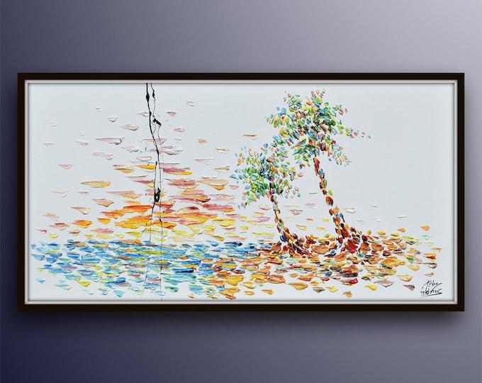 "Island painting 55"" Tree seascape turquoise ocean palm trees Beautiful Landscape oil painting on canvas original handmade by Koby Feldmos"