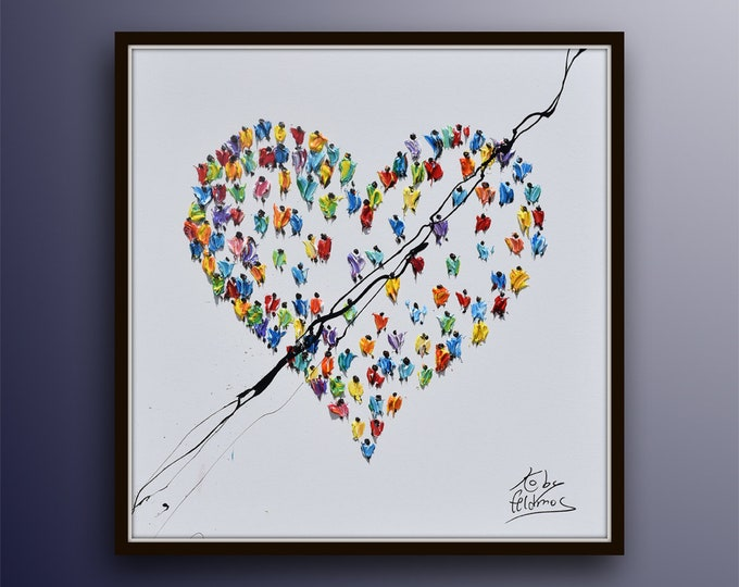 """LOVE Heart PAINTING 35"""" Amazing painting on canvas, For every occasion, Valentines, Gift idea, For yourself in Living room, Koby Feldmos"""